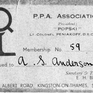Adam Anderson's PPAA membership (front)